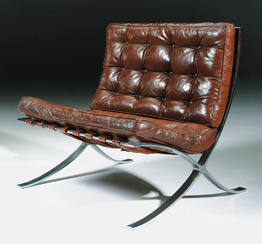 Lot 81 & A chromed steel and leather u0027Barcelonau0027 chair model MR 90 ...