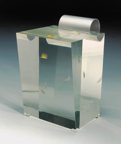 An acrylic and aluminium stool