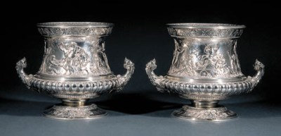 A pair of French silver wine c