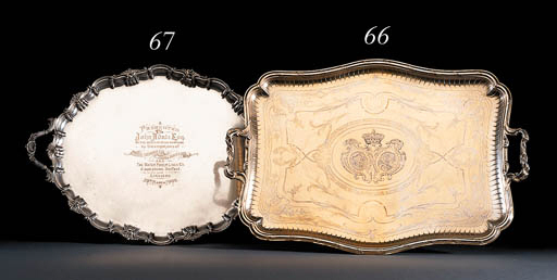 A French silver-gilt tray