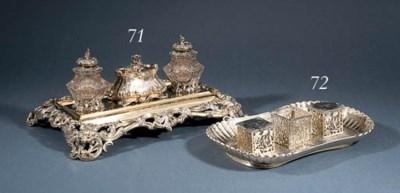 A William IV silver-gilt inkst