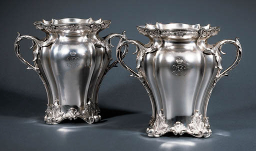 A pair of Russian silver wine-