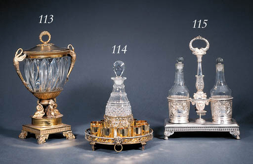 A French silver-gilt and cut-g