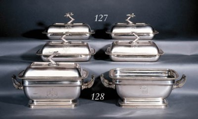 Two George III silver soup-tur