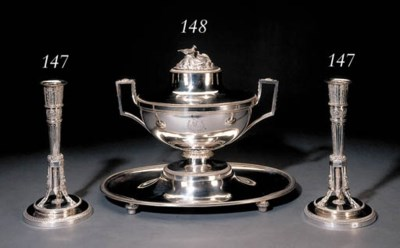 A French silver soup-tureen on