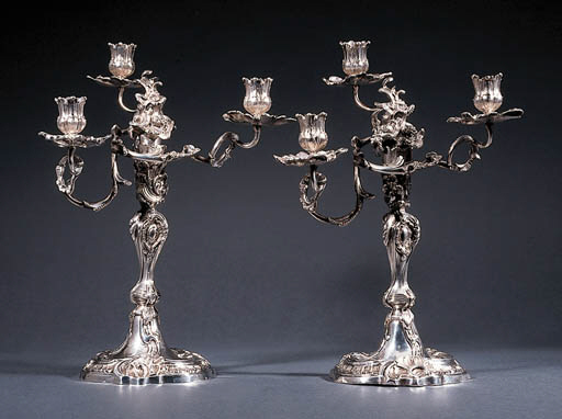 A pair of German silver three-