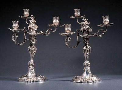 A pair of German silver three-