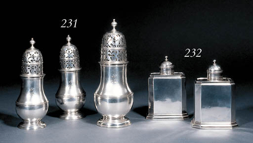 A pair of George I silver tea