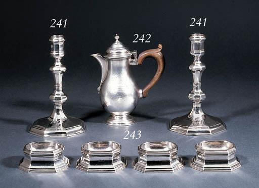 A pair of Queen Anne silver ca