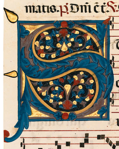Initial S on a leaf from an  Antiphonal, ILLUMINATED MANUSCRIPT ON VELLUM