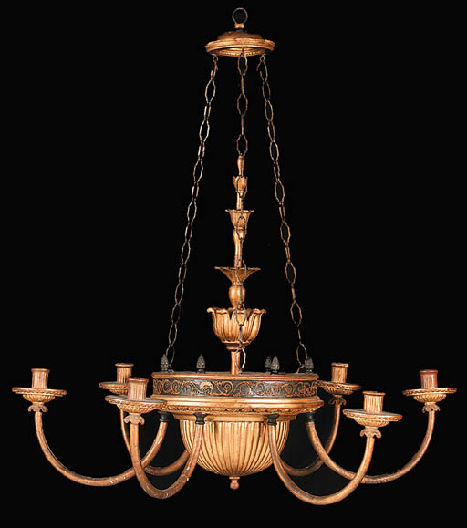 A BRASS AND GILTWOOD CHANDELIE