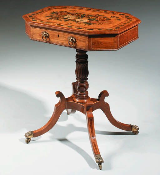 A REGENCY ROSEWOOD AND POLYCHR