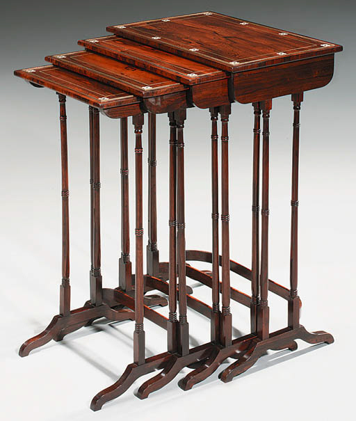A SET OF FOUR ROSEWOOD AND BRA