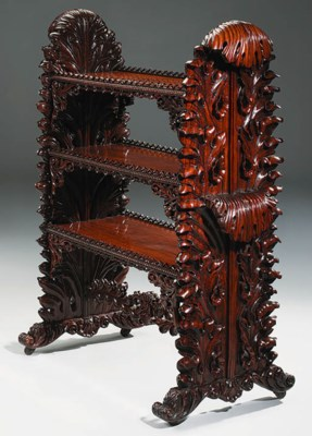 A SINGHALESE ROSEWOOD ETAGERE