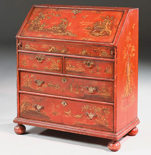 A QUEEN ANNE SCARLET AND GILT-