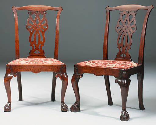 A PAIR OF MAHOGANY SIDE CHAIRS
