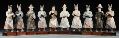 A SET OF TEN PAINTED POTTERY F