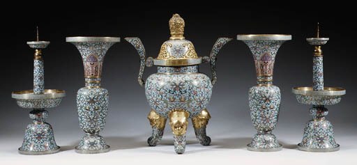 A FINE FIVE-PIECE CLOISONNE EN
