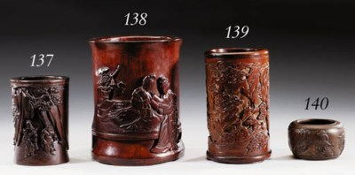 A WELL-CARVED BAMBOO BRUSHPOT,