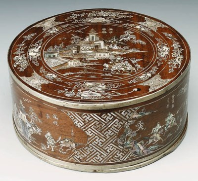 A MOTHER-OF-PEARL INLAID CYLIN