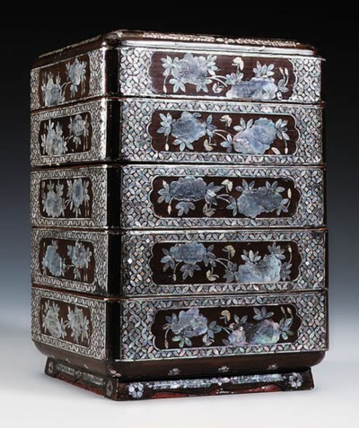 A TIERED LAC BURGAUTE BOX AND