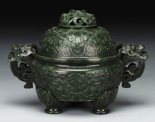 A WELL-CARVED SPINACH JADE TRI