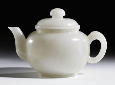 A WHITE JADE WINE-POT AND COVE
