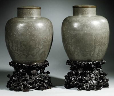 A PAIR OF PEWTER OVIFORM JARS