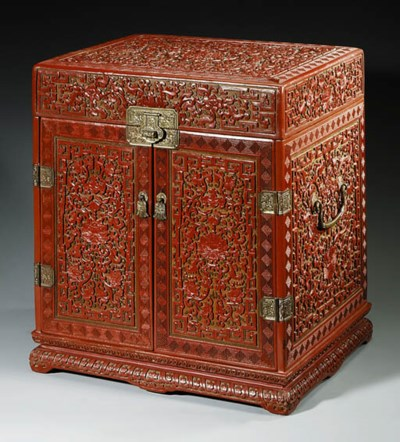 A CARVED POLYCHROME LACQUER CH