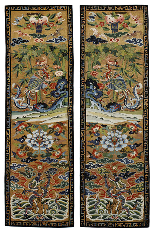 A PAIR OF GOLD-GROUND KESI CHA