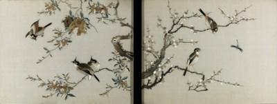 A PAIR OF EMBROIDERED 'BIRD AN