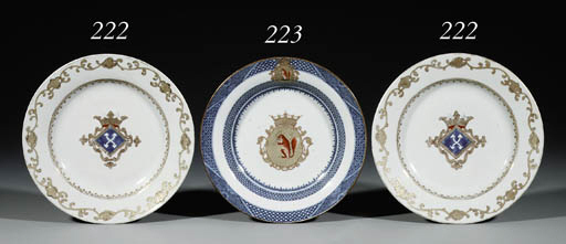 A BLUE AND WHITE AND ENAMELLED