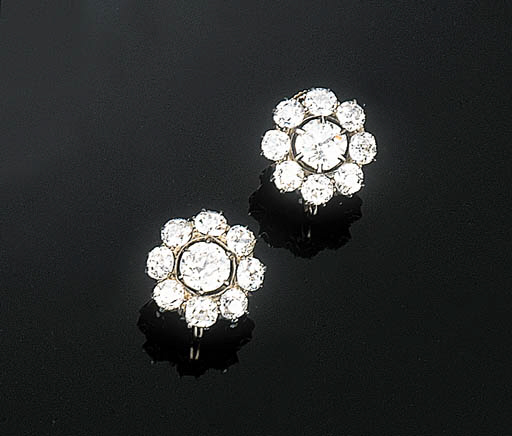 A Pair of Diamond Cluster Earr
