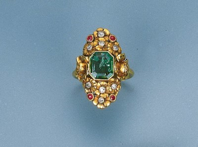 An Art Nouveau Emerald, Ruby a