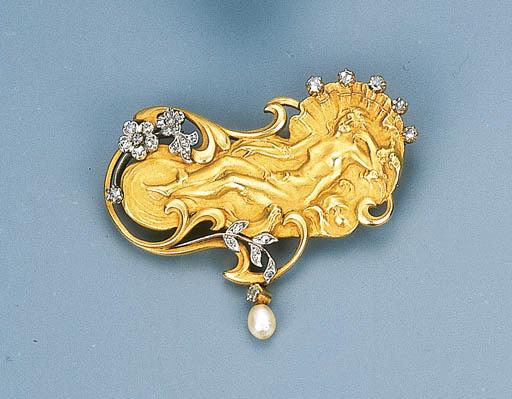 An Art Nouveau Gold, Diamond a