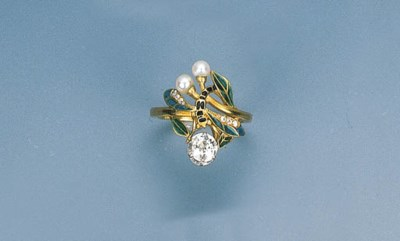 An Art Nouveau Enamel, Diamond
