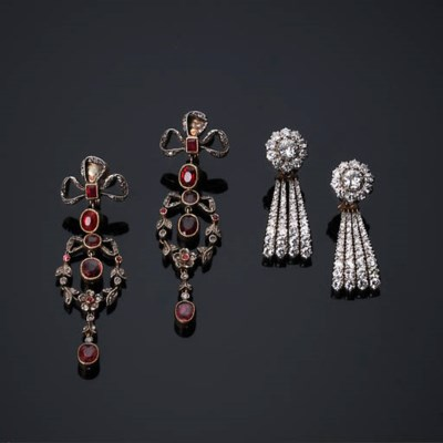 A Pair of Antique Ruby and Dia