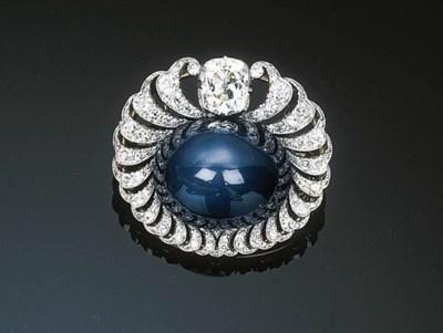 A Star Sapphire and Diamond Pe