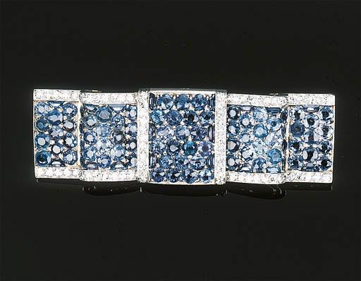 A Sapphire and Diamond Plaque