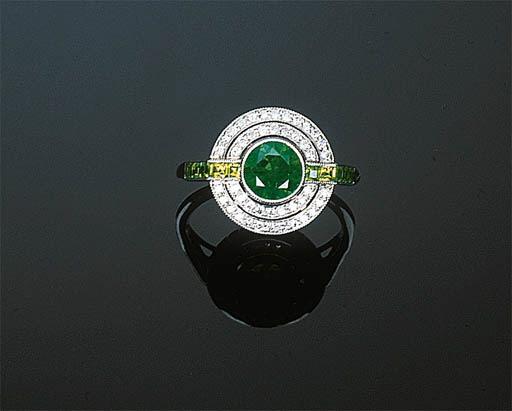 A Demantoid Garnet and Diamond