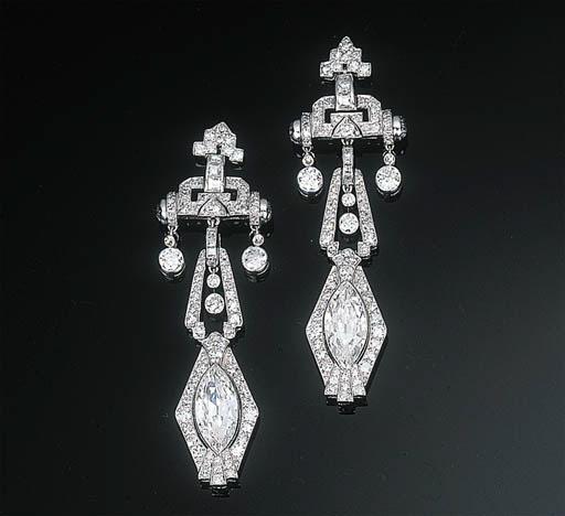A Pair of Art Deco Diamond Ear