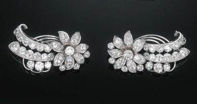 A Pair of Diamond Floral Brooc