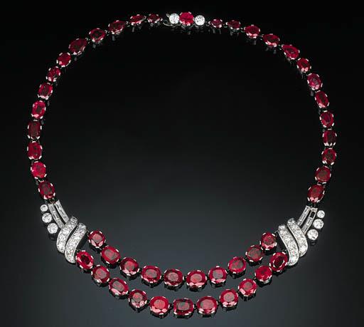 An Art Deco Ruby and Diamond N