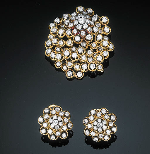 A Diamond Cluster Brooch and E