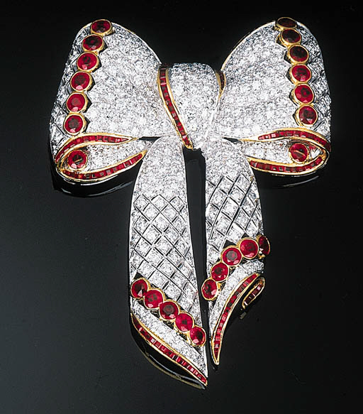 A Ruby and Diamond-set Bow Bro