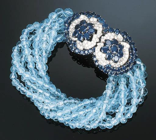 A Sapphire, Aquamarine and Dia