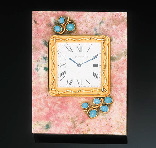 A Gem-set Desk Clock by Cartie
