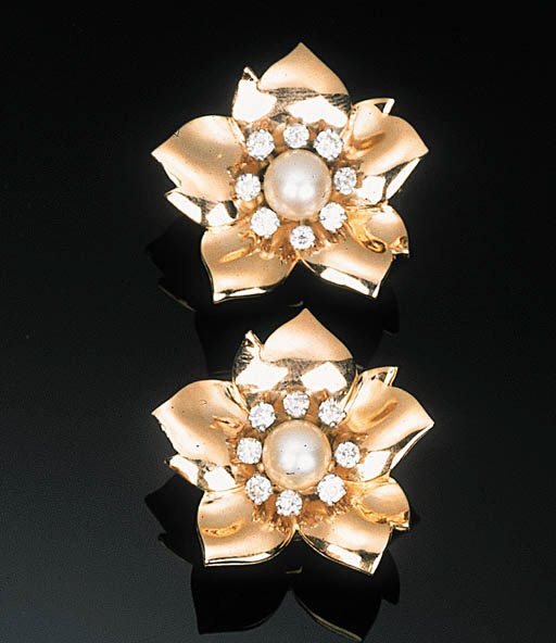 A Pair of Pearl and Diamond Fl