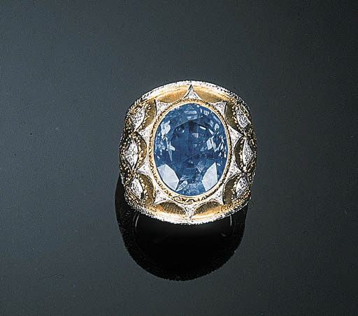 A Sapphire and Diamond Ring by