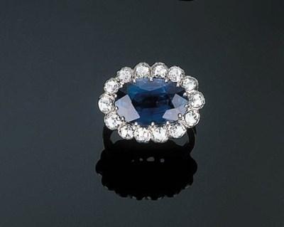 A Sapphire and Rose-cut Diamon